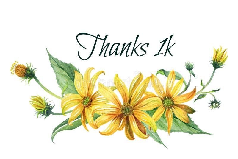 watercolor Bouquet des marguerites jaunes illustration de vecteur