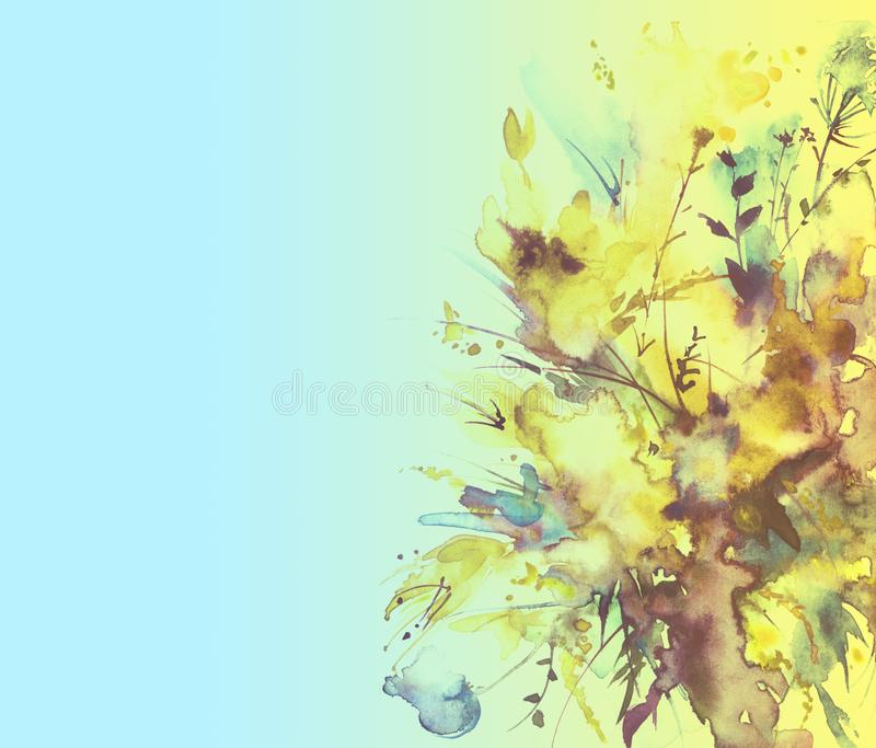 Watercolor bouquet of flowers, Beautiful abstract splash of paint, fashion illustration. Orchid flowers, poppy, cornflower, gladio stock illustration