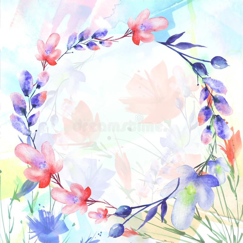 Watercolor bouquet of flowers, Beautiful abstract splash of paint, willow, poppy, chamomile royalty free stock photography