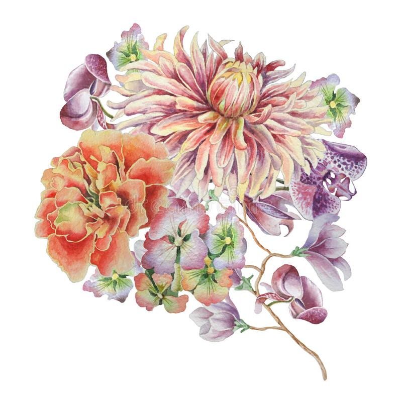 Watercolor bouquet with flowers. Dahlia. Marigold. Orchid. royalty free illustration