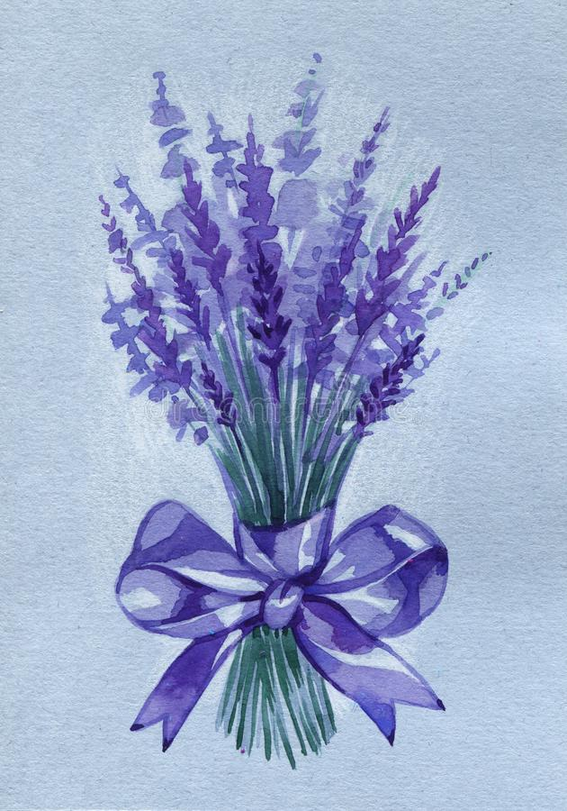 Watercolor bouquet lavender flowers illustration on isolated. royalty free illustration