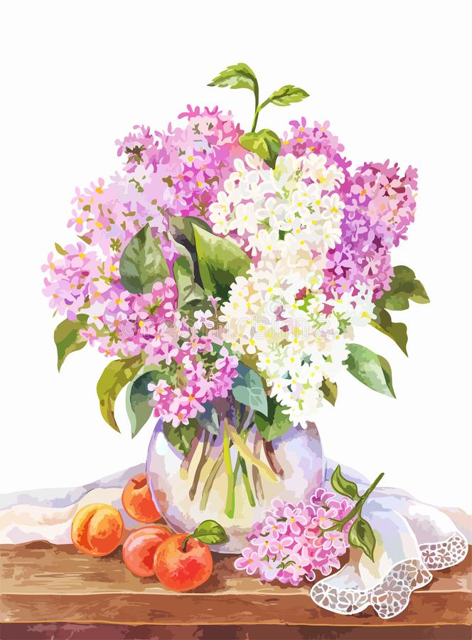 Watercolor bouquet of lilac in vase, and apricots on the wooden table. Bouquet of lilac in a glass vase on a wooden table. Watercolor vector summer illustration stock illustration