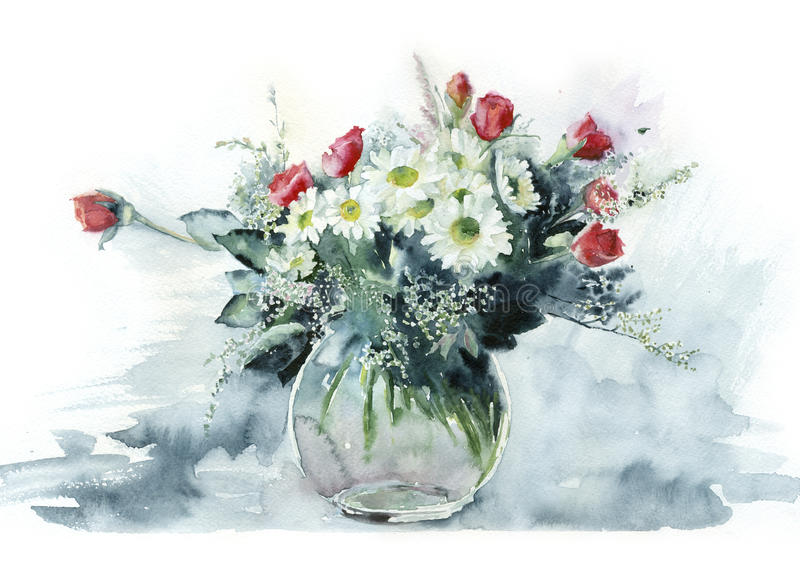 Watercolor bouquet of roses. vector illustration
