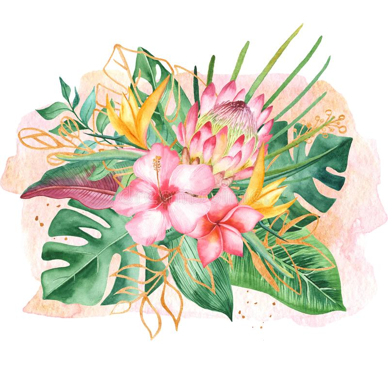 Watercolor bouquet with tropical leaves and flowers, watercolor stains. vector illustration