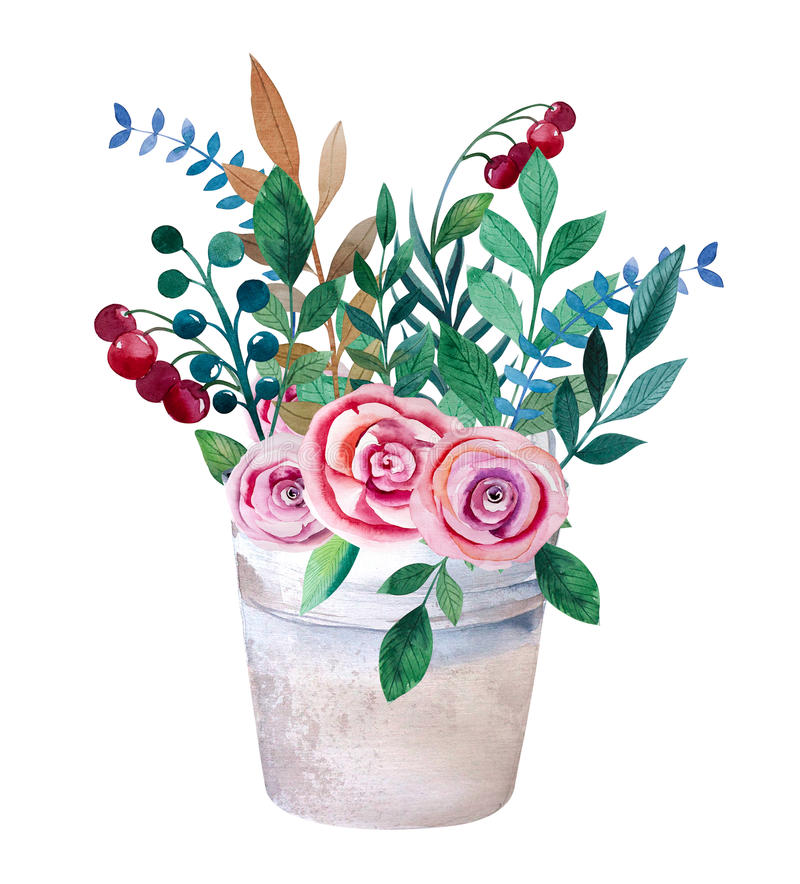 Watercolor bouquets of flowers in pot. Rustic royalty free illustration