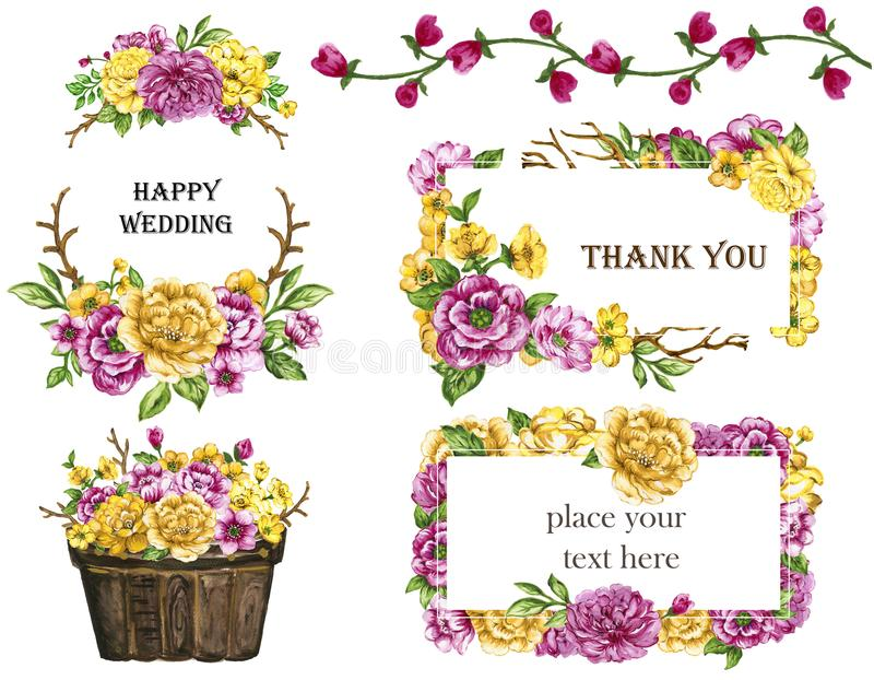Watercolor bouquets of flowers Yellow and Pink wreath frame set. Watercolor gouache elegant vintage hand painted botanical garden flower green leaves spring and royalty free illustration
