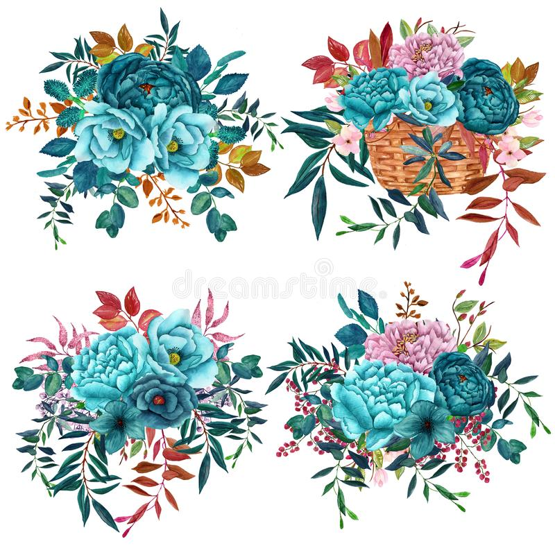 Watercolor Bouquets with teal flowers isolated on white background stock photos