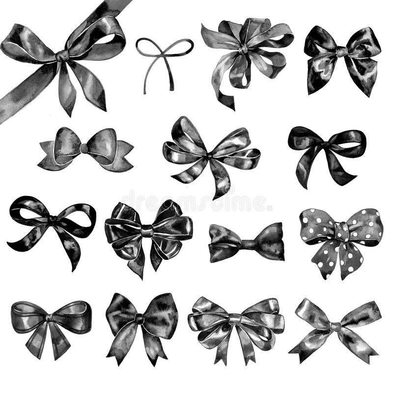 Watercolor bow big set. Different black bows and ribbons for holidays, greeting, celebration as Christmas, birthday. Watercolor bow set. Different black bows and royalty free illustration