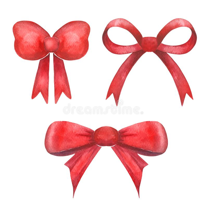 Watercolor bow red beauty christmas bow ribbon gift, isolated on a white background. vector illustration