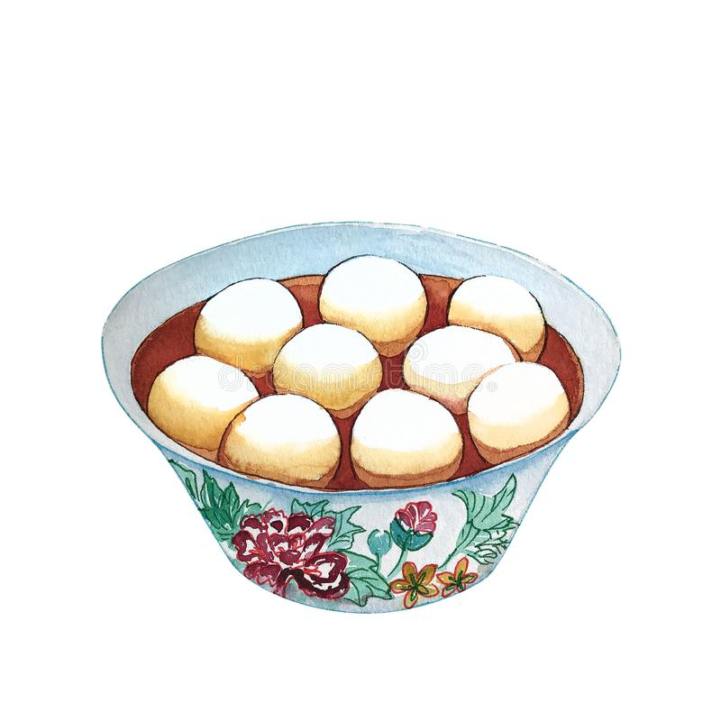 Watercolor bowl of traditional chinese dessert tang yuang. Hand drawn illustration of delicious sweet asian rice balls, isolated on white background vector illustration