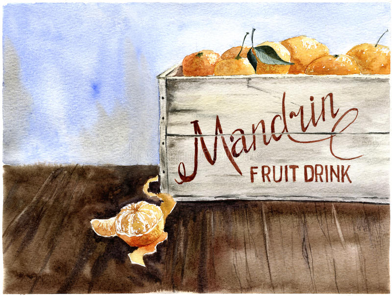 Watercolor box of mandarin. Watercolor background royalty free illustration