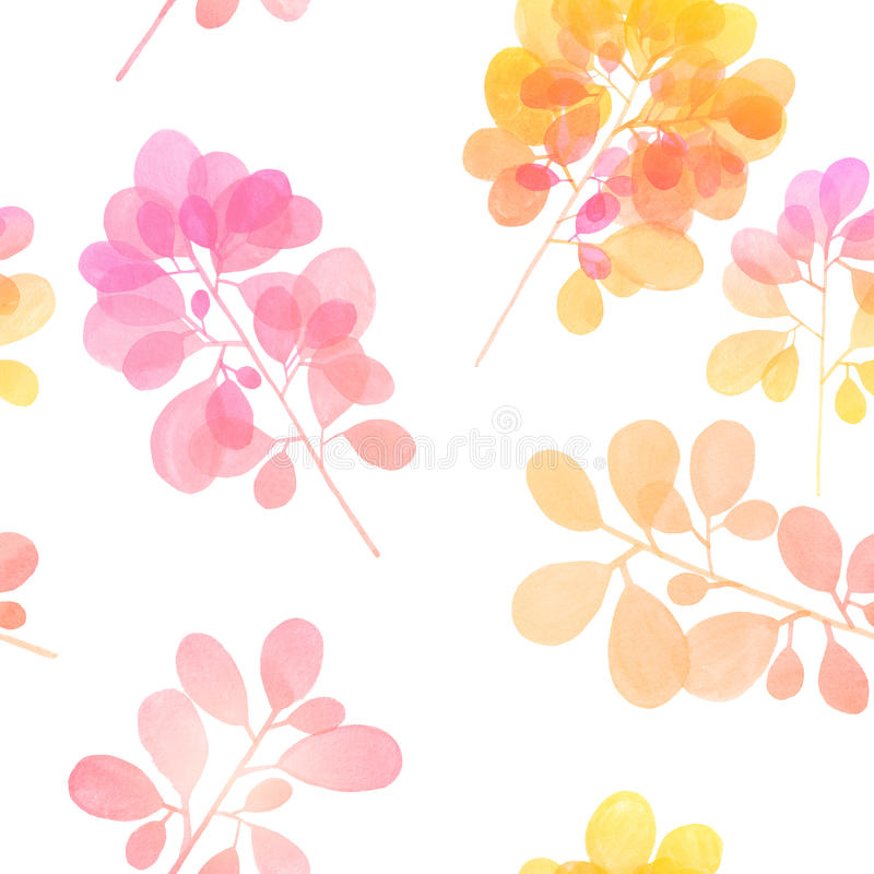 Watercolor branch pattern royalty free stock image