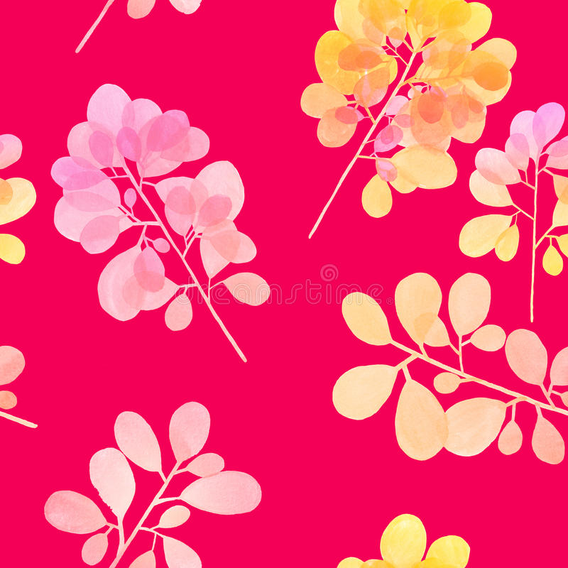 Watercolor branch pattern royalty free stock photos