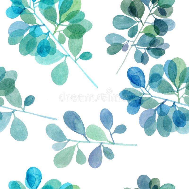 Watercolor branch pattern stock photo