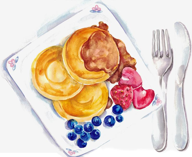 Watercolor breakfast pancakes with maple syrup . vector illustration