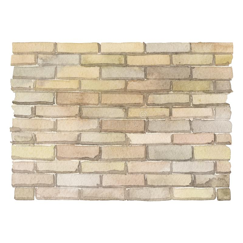 Watercolor brick wall isolated on white background. Watercolor brick wall. Hand painted part of old building isolated on white background stock illustration