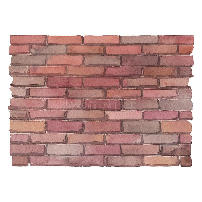 Watercolor brick wall isolated on white background. Watercolor brick wall. Hand painted part of old building isolated on white background vector illustration