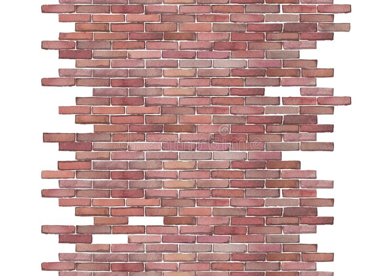 Watercolor brick wall isolated on white background. Watercolor semi built or half ruined brick wall. Hand painted Seamless border isolated on white background vector illustration
