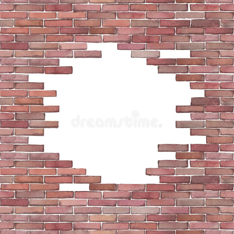 Watercolor brick wall isolated on white background. Watercolor brick wall with punched hole of circular shape. Hand painted architectural design. Can be combined royalty free illustration