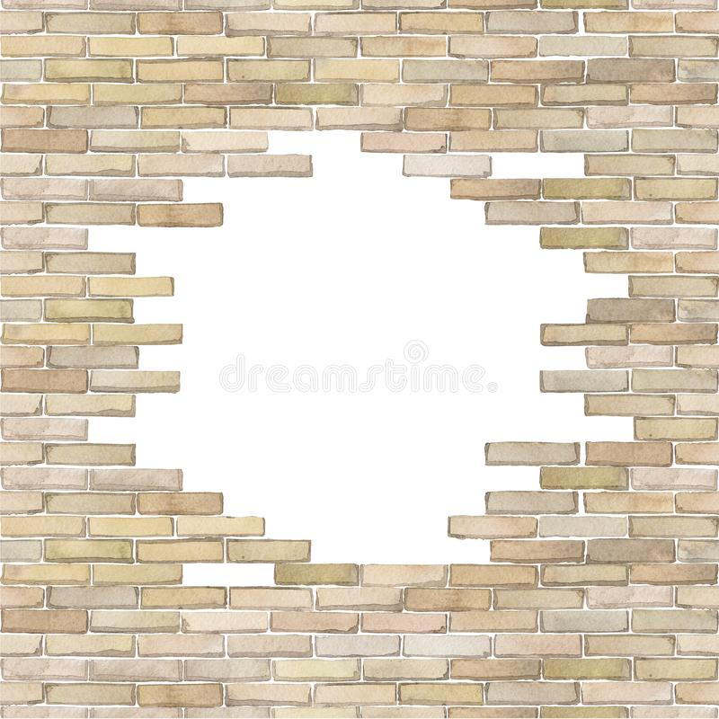 Watercolor brick wall isolated on white background. Watercolor brick wall with punched hole of circular shape. Hand painted architectural design. Can be combined stock illustration