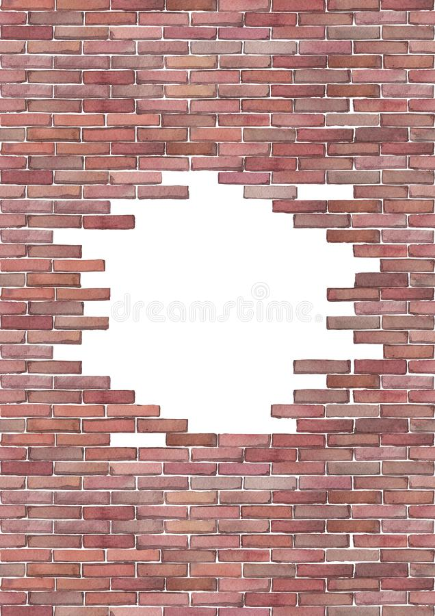 Watercolor brick wall isolated on white background. Watercolor brick wall with punched hole of circular shape. Hand painted architectural design. e edges of this vector illustration