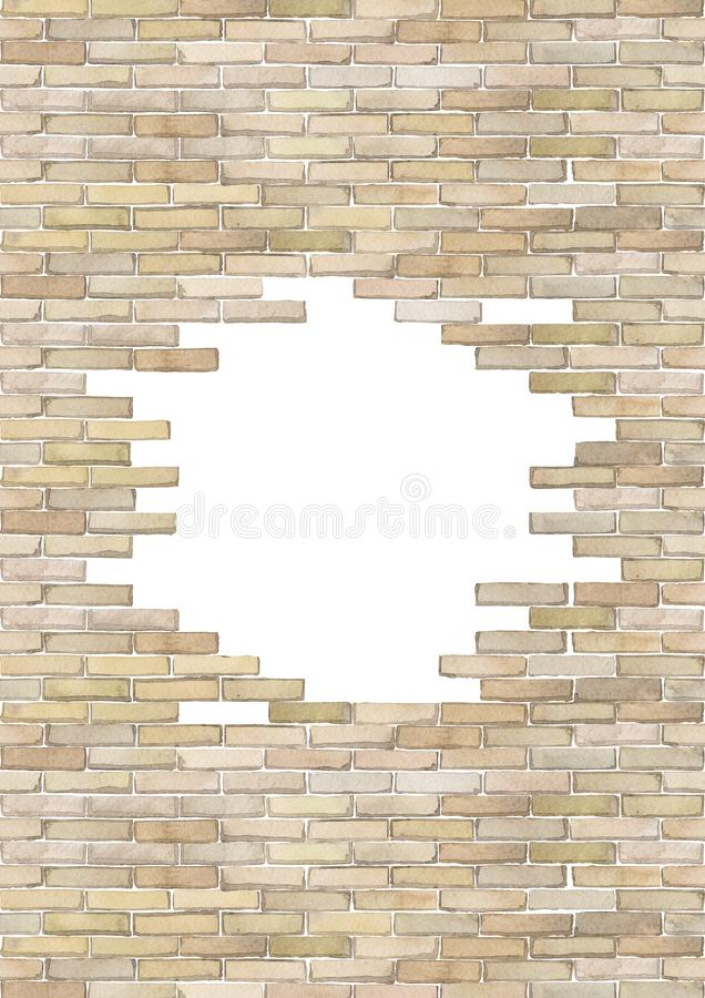 Watercolor brick wall isolated on white background. Watercolor brick wall with punched hole of circular shape. Hand painted architectural design. e edges of this stock illustration