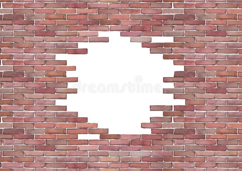 Watercolor brick wall isolated on white background. Watercolor brick wall with punched hole of circular shape. Hand painted architectural texture. Top and bottom stock illustration