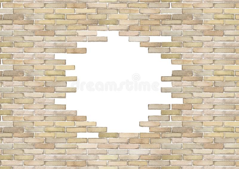 Watercolor brick wall isolated on white background. Watercolor brick wall with punched hole of circular shape. Hand painted architectural texture. Top and bottom royalty free illustration