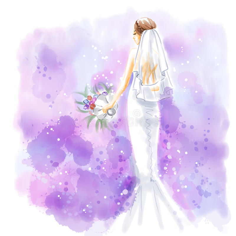 Watercolor, Bride in beutiful wedding dress with bouquet. Elegant young bride with bouquet of flowers in beautiful long wedding dress. Watercolor invitation card stock illustration