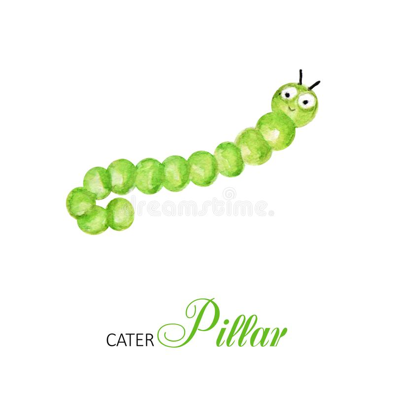 Funny caterpillar watercolor, bright cartoon insects. Greeting card with text. Isolated worm on white background stock illustration