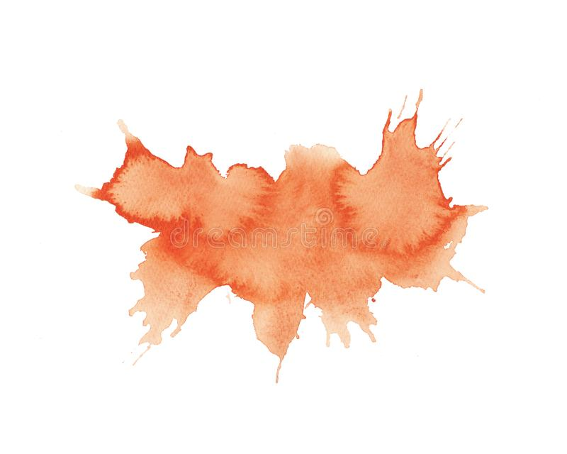 Watercolor bright orange stain isolated on white background stock illustration