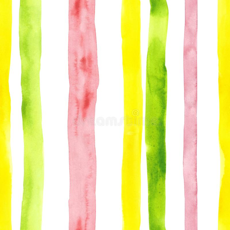 Bright cute watercolor seamless pattern with pink, yellow and green vertical strips and lines on white background. Striped. Watercolor bright romantic seamless royalty free stock photo