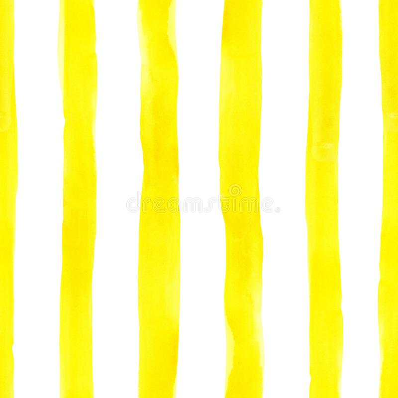 Watercolor bright seamless pattern with painted yellow stripes on white background. Cute colorful endless print, vintage style stock photo