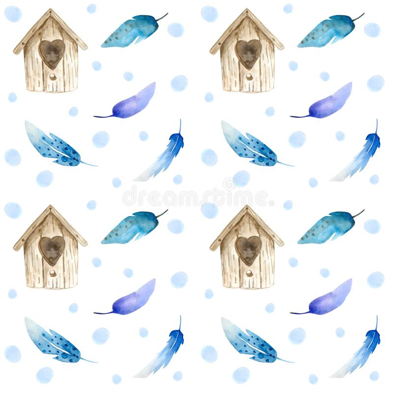 Watercolor brown birdhouse, with colored bird feathers. Seamless pattern stock illustration
