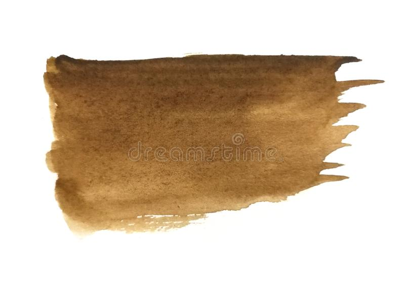 Watercolor brush hand drawn on paper brown abstract stock illustration