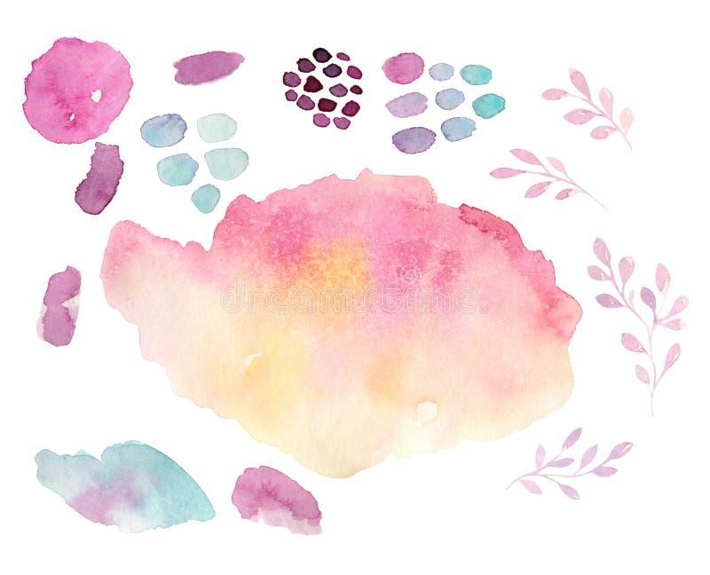 Watercolor brush shape fashion style, bright design background. Hand painted modern grunge shapes. royalty free illustration