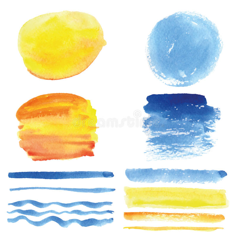 Free Watercolor Brushes, Circle Frame.Cyan,yellow.Summer Royalty Free Stock Photo - 76027395