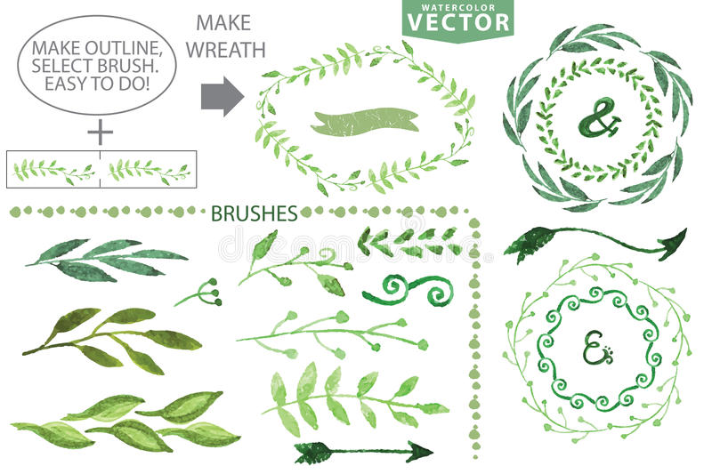 Watercolor brushes and wreath set.Vintage floral stock illustration