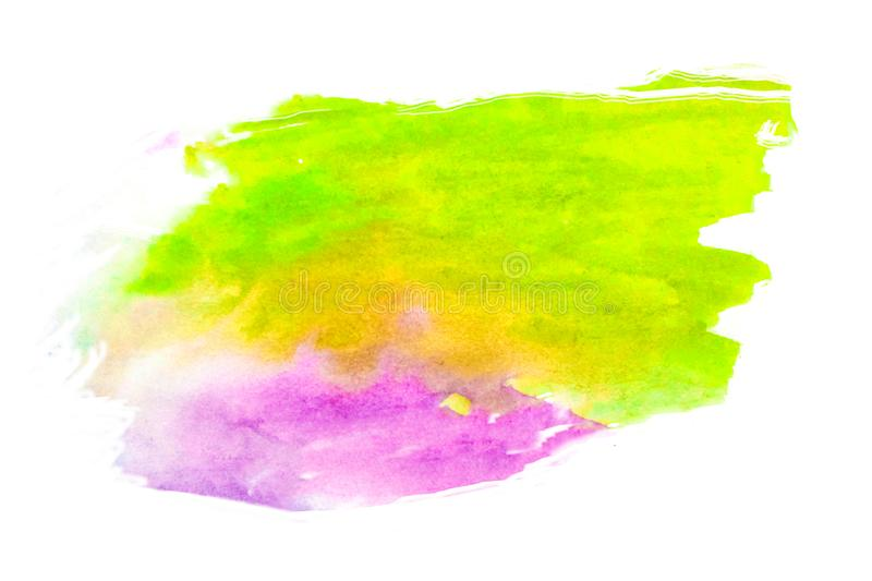 Watercolor brushwork green and pink - purplish - purple. Opposite colors. Isolated stock photos