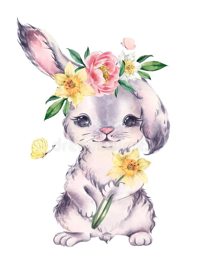 Free Watercolor Bunny With A Wreath Of Spring Flowers. Easter Card. Royalty Free Stock Photo - 175053805
