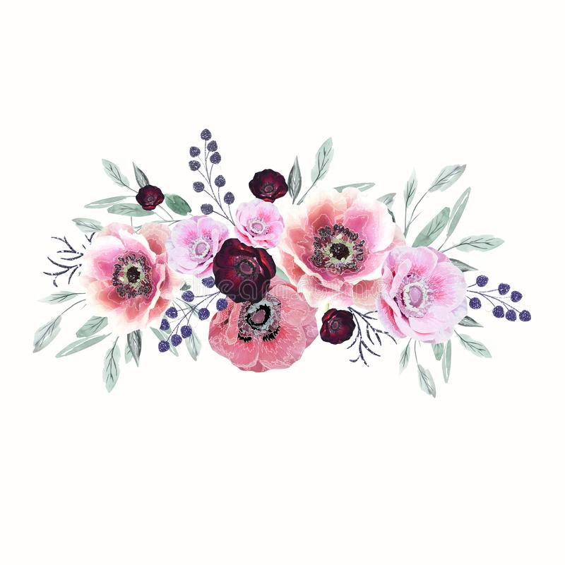 Watercolor burgundy, pink flowers. Floral illustrations, leaves and twigs. Botanical composition for a wedding, greeting card. vector illustration