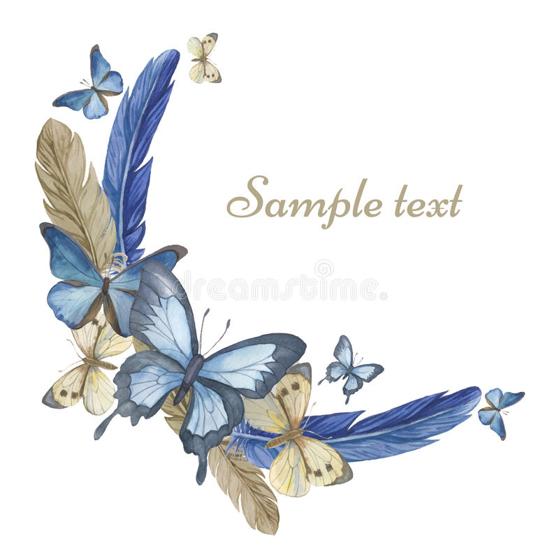 Watercolor butterflies and feathers. Round frame, card. vector illustration