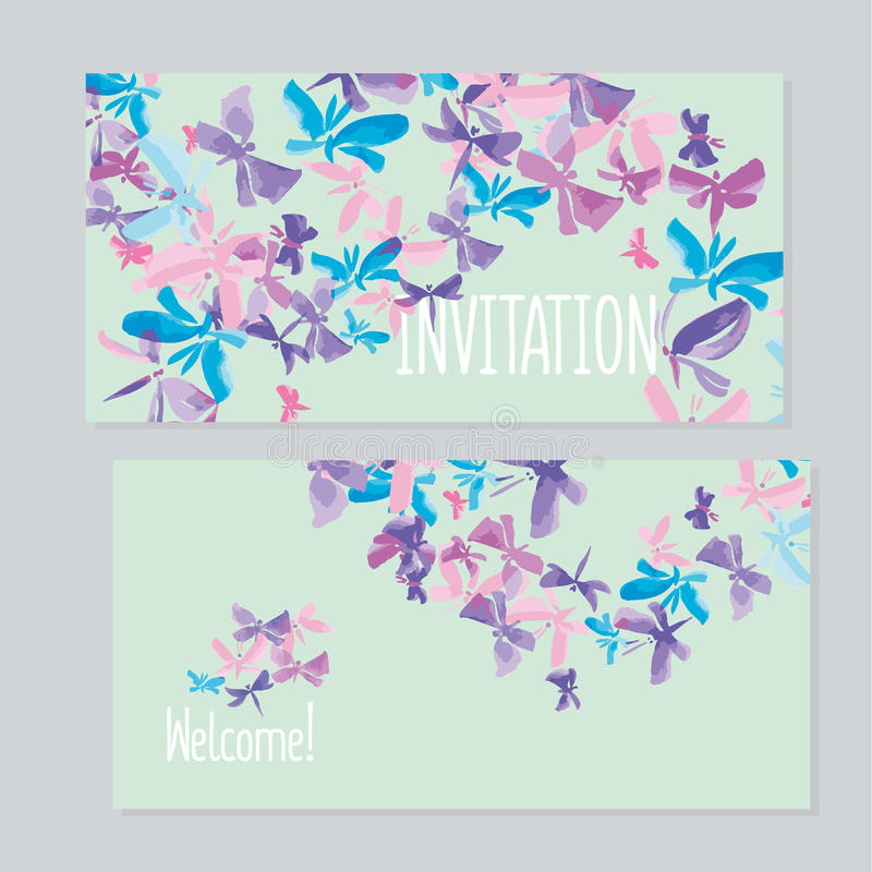 Watercolor Butterfly Invitation Template For Wedding. Stock Vector ...