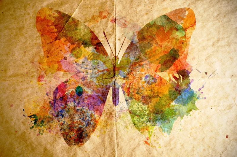 Watercolor butterfly, old paper background stock illustration