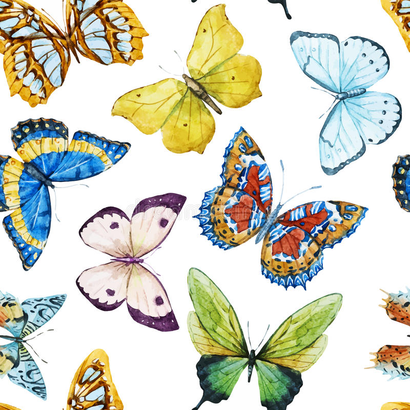 Watercolor butterfly pattern vector illustration
