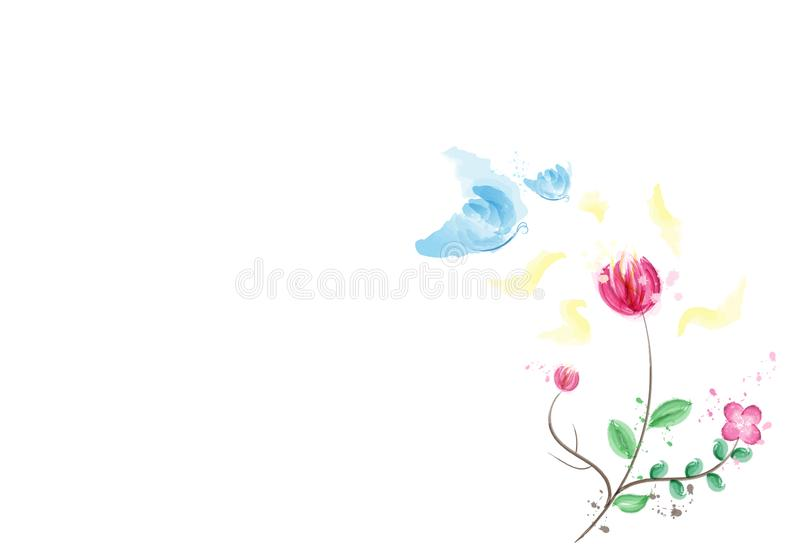 Watercolor, butterfly with pollen of flower, ink splatter nature vector illustration