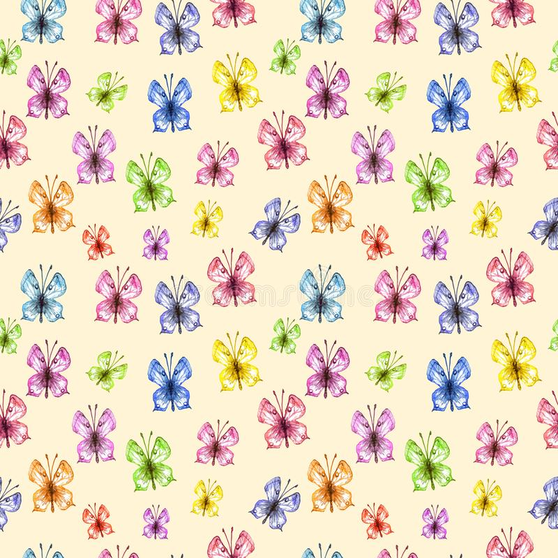 Watercolor butterfly seamless pattern on warm yellow background. Hand painted Colorful spring and summer illustration vector illustration