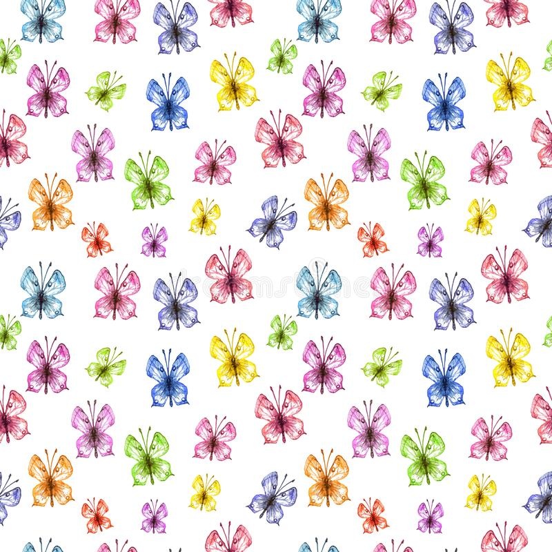 Watercolor butterfly seamless pattern on white background. Hand painted Colorful spring and summer illustration stock illustration