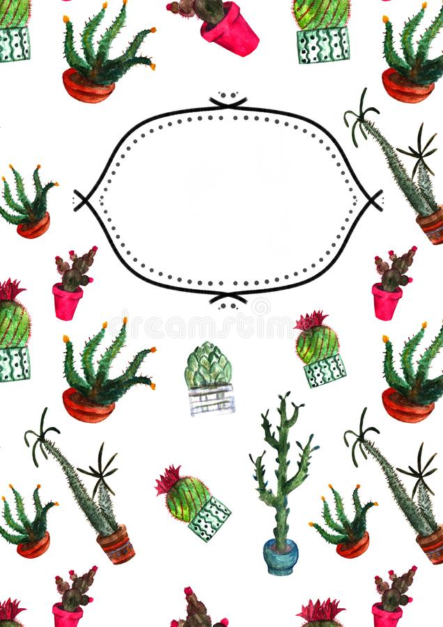 Watercolor Cacti Notebook Cover stock photo