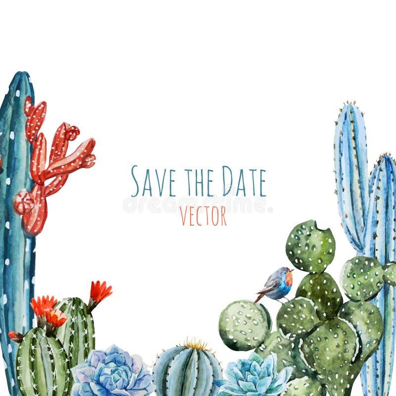 Watercolor cactus frame vector illustration